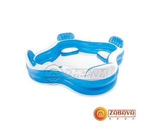 Надувной бассейн Intex 56475 Семейный с сидениями и спинками 229х229х66см