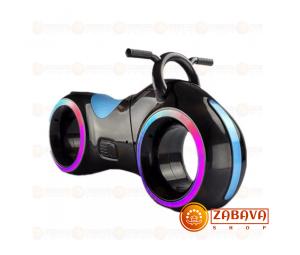 Детский беговел Star One Scooter с Led подсветкой Bluetooth и Динамиками ( черный с синими вставками)