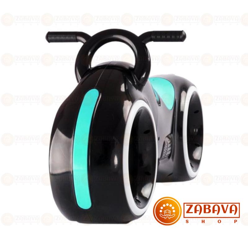 Детский беговел Star One Scooter с Led подсветкой Bluetooth и Динамиками ( черный с зелеными(бирюзовыми) вставками )