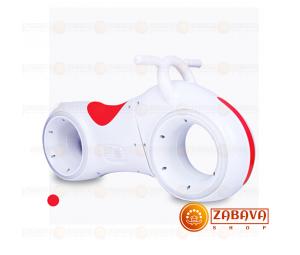 Детский беговел Star One Scooter с Led подсветкой Bluetooth и Динамиками ( белый с красными вставками)