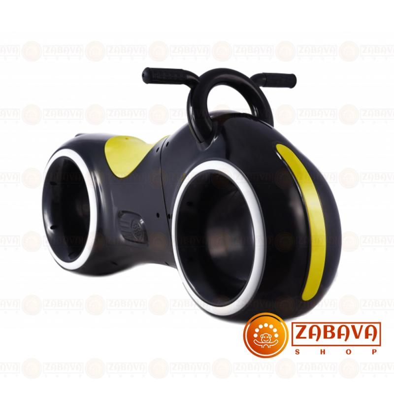 Детский беговел Star One Scooter с Led подсветкой Bluetooth и Динамиками ( черный с желтыми вставками)